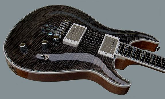 Custom Standard, Trans-black Curly Maple top